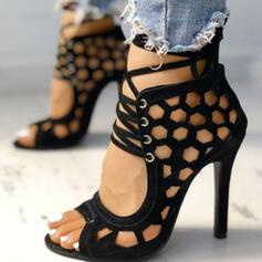 Women's Mesh Stiletto Heel Sandals Pumps Peep Toe Heels With Lace-up Hollow-out shoes