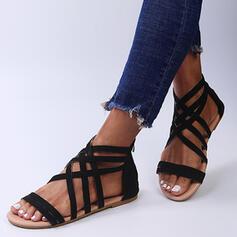 Dla kobiet Zamsz Płaski Obcas Sandały Plaskie Otwarty Nosek Buta Z Zamek błyskawiczny Jednolity kolor W kratke obuwie