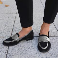 Dla kobiet Zamsz Płaski Obcas Plaskie Niesznurowane mokasyny Poślizgnąć się na Z Kolor splotu obuwie