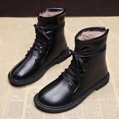 Dla kobiet PU Płaski Obcas Martin Buty Round Toe Z Sznurowanie obuwie