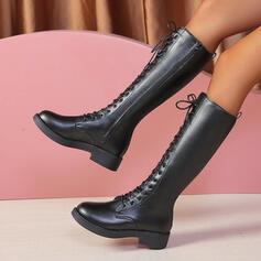 Dla kobiet PU Obcas Slupek Kozaki do polowy lydki Round Toe Z Jednolity kolor obuwie