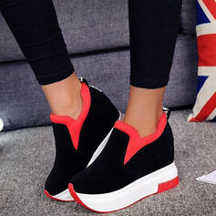 Women's Suede Others Flats Low Top Round Toe Slip On With Splice Color shoes