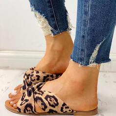 Women's Silk Flat Heel Sandals Peep Toe Slippers With Animal Print shoes