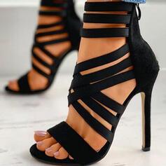 Dla kobiet PU Obcas Stiletto Sandały Czólenka Obcasy Z Zamek błyskawiczny Tkanina Wypalana Jednolity kolor obuwie