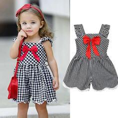 Dziewczynki 2-5lat Kokarda W kratę Bawełna Suknia