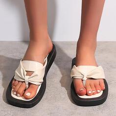 Women's Leatherette Flat Heel Sandals Flats Peep Toe Flip-Flops Slippers With Splice Color shoes