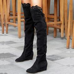 Dla kobiet Zamsz Obcas Koturnowy Kozaki do kolan Round Toe Z Jednolity kolor obuwie