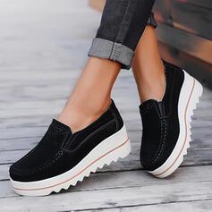 Dla kobiet Zamsz Płaski Obcas Plaskie Niesznurowane mokasyny Z Jednolity kolor obuwie