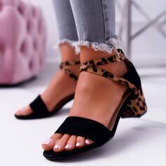 Dla kobiet Zamsz Obcas Slupek Sandały Czólenka Otwarty Nosek Buta Obcasy Z Klamra Nadruk Zwierzęcy obuwie
