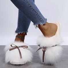 Dla kobiet Sztuczne futro Płaski Obcas Plaskie Bez Pięty Kapcie Round Toe Z Kokarda Futro Jednolity kolor obuwie
