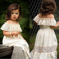 Dziewczynki 2-5lat Jednolity Koronka Bawełna Suknia