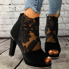 Dla kobiet Material Tkanina mesh Obcas Stiletto Sandały Czólenka Z Kokarda Sznurowanie Jednolity kolor obuwie
