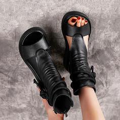Dla kobiet PU Obcas Koturnowy Sandały Z Zamek błyskawiczny Sznurowanie Jednolity kolor obuwie