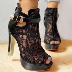 Dla kobiet Tkanina mesh Obcas Stiletto Czólenka Obcasy Z Kokarda Tkanina Wypalana Jednolity kolor obuwie