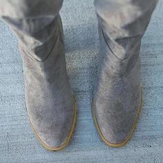 Dla kobiet PU Obcas Slupek Kozaki do kolan Obcasy Spiczasty palec u nogi Z Marszczenie Jednolity kolor obuwie