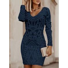 Jednolity Długie rękawy Bodycon Nad kolana Mała czarna/Elegancki Sukienki