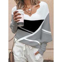 Blok Koloru Dekolt w kształcie litery V Długie rękawy Lantern Sleeve Nieformalny Bluzki