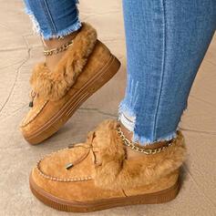 Dla kobiet Zamsz Płaski Obcas Kozaki Niskie góry Z Sznurowanie Sztuczne Futro Jednolity kolor obuwie