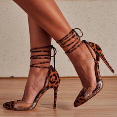 Dla kobiet Mikrofibra Obcas Stiletto Spiczasty palec u nogi Z Nadruk Zwierzęcy Sznurowanie obuwie