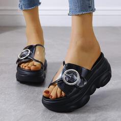 Women's PU Flat Heel Sandals Flats Platform Peep Toe Slippers With Button shoes