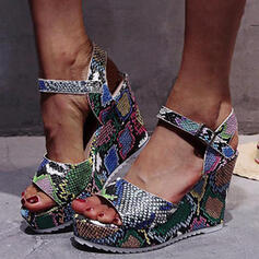 Women's PU Wedge Heel Pumps Peep Toe With Buckle Hollow-out Splice Color shoes