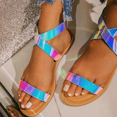 Women's PU Flat Heel Sandals Flats Peep Toe With Buckle Crisscross shoes