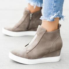 Dla kobiet Zamsz Obcas Koturnowy Platforma Koturny Z Zamek błyskawiczny obuwie