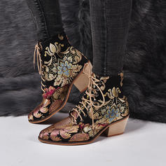Women's PU Chunky Heel Boots With Applique Satin Flower shoes