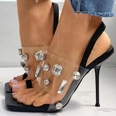 Dla kobiet PU Obcas Stiletto Zakryte Palce Z Stras/ Krysztal Górski obuwie