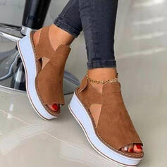 Dla kobiet Zamsz Obcas Koturnowy Sandały Platforma Koturny Otwarty Nosek Buta Bez Pięty Z Tkanina Wypalana Rzep Jednolity kolor obuwie