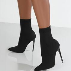 Dla kobiet Zamsz Obcas Stiletto Kozaki Botki Z Elastic Band Jednolity kolor obuwie