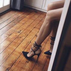 Dla kobiet PU Obcas Stiletto Sandały Czólenka Z Sznurowanie Tkanina Wypalana Jednolity kolor obuwie