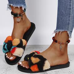 Dla kobiet Sztuczne futro Płaski Obcas Sandały Plaskie Otwarty Nosek Buta Kapcie Z Futro Colorblock obuwie