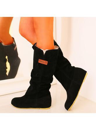 Dla kobiet PU Niski Obcas Kozaki Buty zimowe Round Toe Z Jednolity kolor obuwie