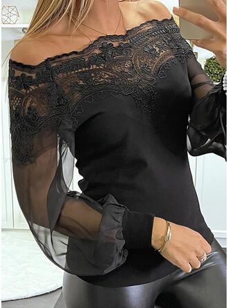 Jednolity Koronka Dekolt typu Carmen Długie rękawy Raglan Sleeve Elegancki Bluzki