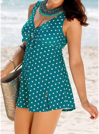 Dot Knotted Strap V-Neck Elegant Casual Swimdresses Swimsuits