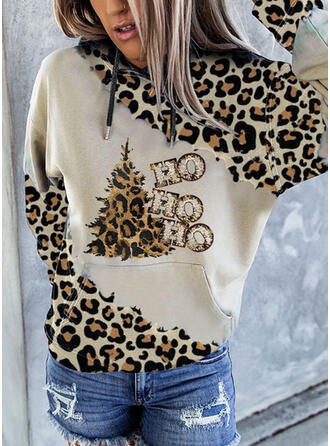 Print Leopard Figure Long Sleeves Christmas Sweatshirt