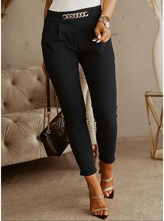 Jednolity Przycięte Duży rozmiar Biuro / Biznes łańcuchy Spodnie