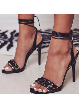 Women's Leatherette Stiletto Heel Sandals Pumps Peep Toe Slingbacks Pointed Toe With Lace-up Hollow-out Others shoes
