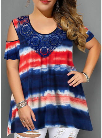Lace Tie Dye Cold Shoulder Short Sleeves Casual Plus Size Blouses