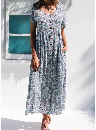 Nadrukowana/Kwiatowy Krótkie rękawy W kształcie litery A Casual/Elegancki Maxi Sukienki