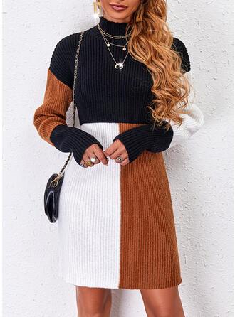 Nadruk Blok Koloru Golf Nieformalny Sukienka sweterkowa