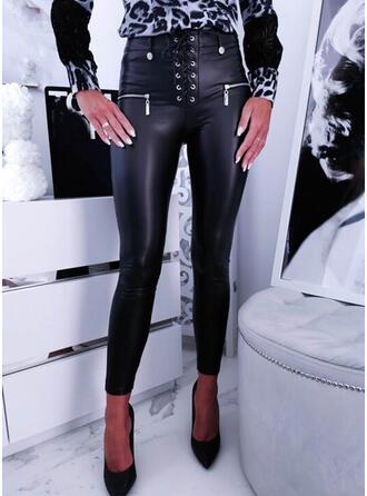 Jednolity Poliuretan Długo Duży rozmiar Biuro / Biznes Pocket Lace Up Przycisk Spodnie