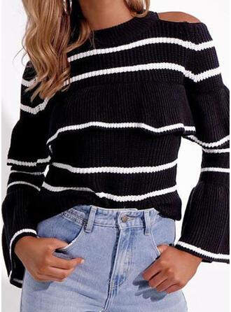 Nadruk W paski Zimne ramię Nieformalny Swetry
