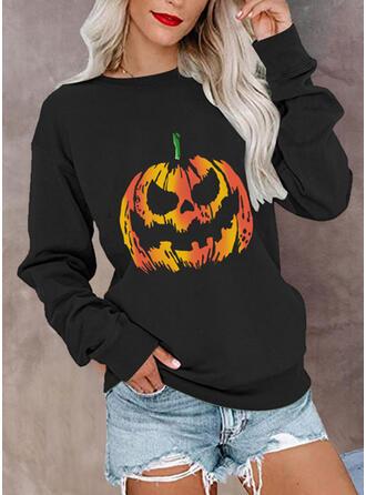 Halloween Nadruk Okrągły dekolt Długie rękawy Bluza