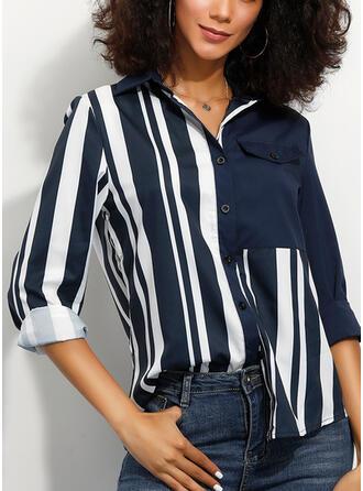 Prążki Klapa Długie rękawy Zapięcie na guzik Casual Bluski koszulowe