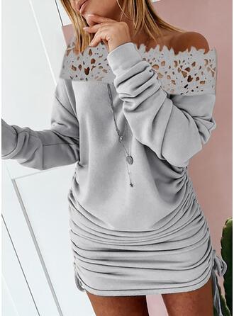 Koronka/Jednolita Długie rękawy Bodycon Nad kolana Casual Sukienki