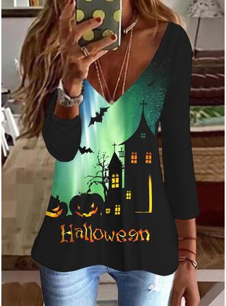Halloween Nadruk Wytłaczany Zwierzę Dekolt w kształcie litery V Rękawy 3/4 T-shirty