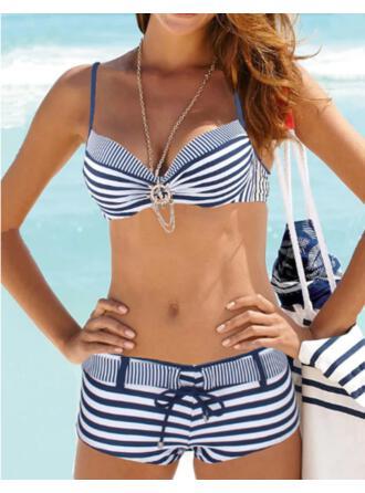 Pasek Zasznurować W prążki Dekolt w kształcie litery V Klasyczny Bikini Stroje kąpielowe