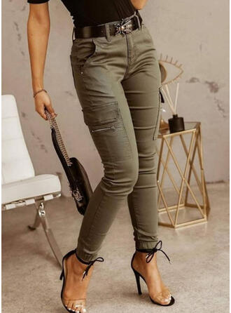Jednolity Długo Nieformalny Zabytkowe Pocket shirred Spodnie